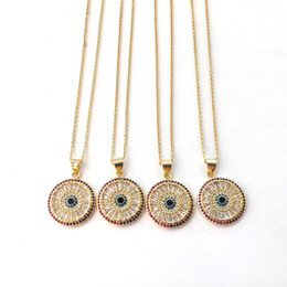 cz chains Australia - Rainbow CZ Micro Pave Round Eye Pendants Necklaces For Women Elegant Round Shaped charm necklace Women Jewelry NK439
