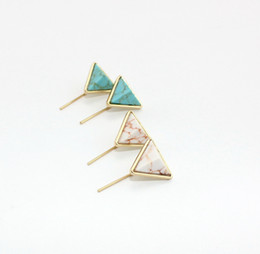 $enCountryForm.capitalKeyWord Australia - Fashion Gold White Green Turquoise Triangle Marble Earrings Natural Stone Charms Dangle Earrings Jewelry For Women