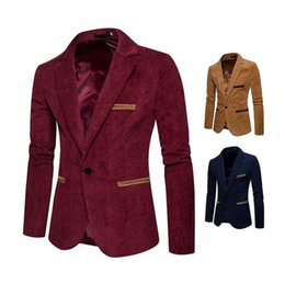 Corduroy Panel Jacket Australia - New fashion men's corduroy casual small suit jacket men's one button suit outdoor slim jacket long-sleeved suit wedding best man shirt