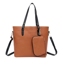 Black Leather Bag Set NZ - brand 2pcs set women bag large handbag solid color artificial leather tote bag female small shoulder purse Black