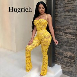 Wholesale lace womens jumpsuits chiffon for sale – dress Lace Jumpsuit New Fashion Rompers Womens Jumpsuits Clubwear Playsuit Hollow Out Party Chiffon Outweaer Clothes