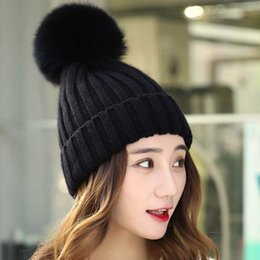 29f0a3ac163d0 Knitted Beanies Cap Hat Thick Women Mink And Fox Fur Ball Cap Pom Poms  Winter Hat For Women Beanies For Ladies