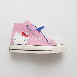 Kitty fabric online shopping - New Cute Kitty Cat x Chuck High s Womens Pink chucks Hello Casual Canvas Shoes Skate Womens Trainers Glitter Silver Designer Sneakers