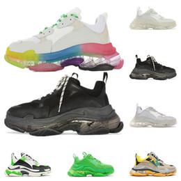 $enCountryForm.capitalKeyWord Australia - Top quality triple s fashion designer luxury shoes for men women clear sole neon green black white grey mens trainers platform sneakers