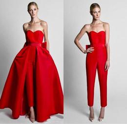 Wholesale hot pants dresses resale online - Red Evening Dresses Detachable Skirt Sweetheart Bow Floor Length Formal Party Queen Prom Gowns Pants Dresses Hot Sale