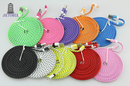 Iphone Sync 3m NZ - 3M 10FT Cable for iPhone 6 plus 5 5s 5g High Quality Colorful Braided Nylon Woven Flat 8pin USB Charging Charger Data Sync Cable Cord 500pcs