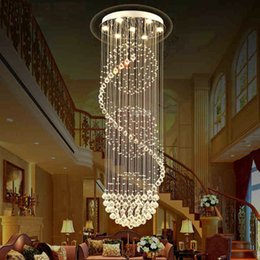 Hotel Lobby Chandeliers NZ - LED Crystal Chandelier Villa Hanging Light Duplex Stair Light Living Room Chandelier Hotel Lobby K9 Crystal pendant light