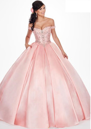 classic closures NZ - Satin Ball Gown Quinceanera Dress Off the Shoulder Corset Lace Up Closure Side Pockets Pleated Skirt Prom Dress CMHP0122