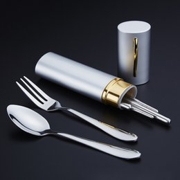$enCountryForm.capitalKeyWord NZ - 3PCS Set Outdoor Spoon Fork Sanitary With Storage Case Tableware Travel Camping Chopsticks Cutlery Set Hiking Stainless Steel