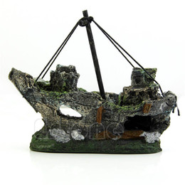 fishing ornament Australia - Wreck Sunk Ship Aquarium Ornament Sailing Boat Destroyer Fish Tank Cave Decor Resin Ornament Landscaping Decoration