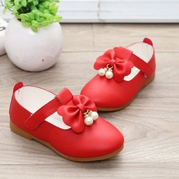 Baby Shoes Red White Australia - New Toddler Baby Little Girl Bowknot Pearl Princess Leather Shoes For Kids Girls White Red School Wedding And Party Shoes