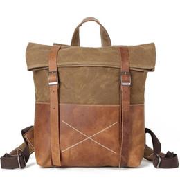 "Grey Back Pack Australia - Dropship Unisex Hard Oil Waxed Canvas Leather Backpacks Criss-Cross Waterproof Backpack Men for Travel 14"" Laptop Back Packs"