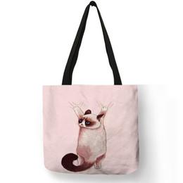 211c991e20 Kitten Bag Australia - Cute Siamese Cat Kitten Print Handbags Women Durable  Shopping Bag Casual Office