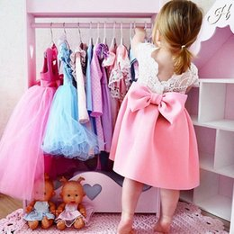 toddler formal outfit 2019 - Party Frocks New Designed Dress Toddler Baby Girls Bowknot Backless Dress Princess Outfits Clothes Sweet Lace cheap todd