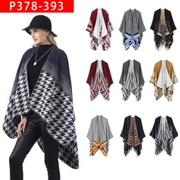 Pullover caPe Poncho online shopping - Women Scarf Cardigan cm Houndstooth Poncho Cape Spring Autumn Warm Blanket Cloak Pashmina Shawl Scarf outwear Coat LJJA3319