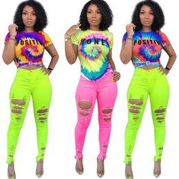 Pop Tees Australia - S-3XL Tie-dye Women T shirt Tee Rainbow Color Letters Short Sleeve Crop Top Designer t shirts Camisetas Mujer Tops Hip Pop Streetwear A42507