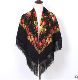 Linen bLankets online shopping - 2019 Luxury Printing Oversize Square Blankets Russian Women Wedding Scarf Retro Style Cotton Handkerchief Autumn Shawl