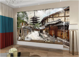 western art paintings UK - 3d room wallpaper custom photo mural Hand-painted European Western Painting Japanese Pagoda Background self-adhesive art canvas pictures