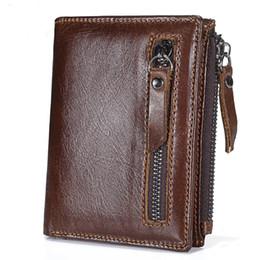 Color Leather Bags Australia - MISFITS Zipper Genuine Cowhide Men Wallets Leather Card Holder Slots Coin Organizer Bag Short Wallet 3 Color X471