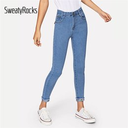 roll up jeans women 2020 - SweatyRocks Solid Roll-Up Skinny Jeans Streetwear Blue High Waist Women Jeans 2019 Spring Casual Frayed Edge Tapered Den