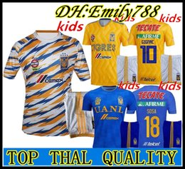 ce75f355f Kids kits 2018 2019 Mexico club 6 star Tigres UANL home soccer jersey  GIGNAC GUERRON 18 19 CHICHARITO R.MARQUEZ child youth football Shirt