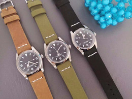 Matte watches online shopping - Classic men s retro watch automatic mechanical sapphire pin buckle top steel case imported matte belt mm luxury watch