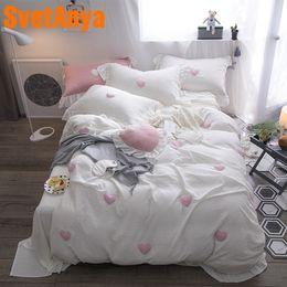 Bedsheet Cotton White Australia - Svetanya Gauze Cotton Bedding Sets Full Queen King Size Bedlinen Bedsheet Pillowcases and Duvet Cover set White Pink Gray