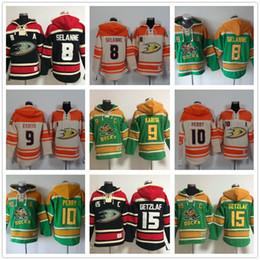 fafd7e604 Mens Anaheim Ducks hoodies 9 Paul Kariya 8 Teemu Selanne 10 Corey Perry 15  Ryan Getzlaf 17 Ice Hockey Hoody Sweatshirts Red Green Orange