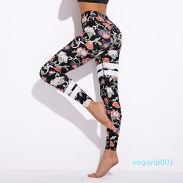 women running pants NZ - Wholesale-Flower Printing sport Leggings Female High Waist Yoga Pants Fitness Drawstring Gym running Tights Women Training Pants