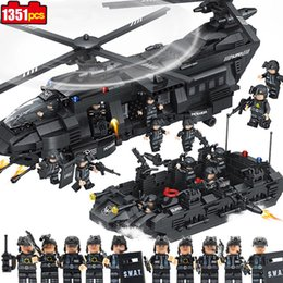 Build Toy Helicopter Australia - 1351pcs Special police team Children's educational building blocks toy Compatible Legoings city War series helicopter Bricks toy