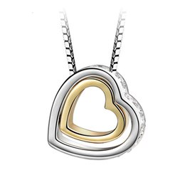 hot bijoux Australia - Hot double metal color heart in heart pendant necklace with Austrian crystal for women girl fashion jewelry Christmas Bijoux gift 2018