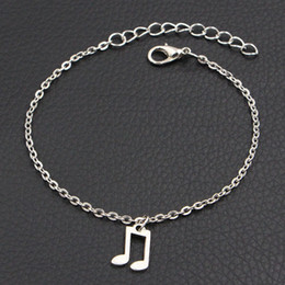 Unisex Simple Bracelet Chain Australia - Simple Style Silver Plated Musical Charm Bracelets & Bangles Chain & Link Music Wedding Banquet Women Men Jewelry Gift Wholesale Top Quality