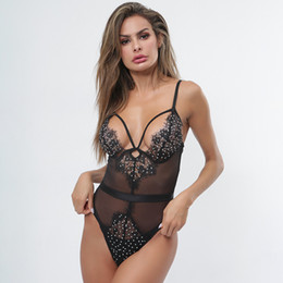 $enCountryForm.capitalKeyWord Australia - Women Lace Lingerie Bodysuit Deep V Neck Babydoll Halter Teddy Sexy One Piece Sleepwear