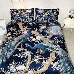 China Peacock Floral Duvet Cover Full Size Navy Blue Flower Bedding Peacock King Size Bedspread Tree Branch Pillow Cover Moon Bed Set NO Quilt supplier 3d bedding set king size floral suppliers