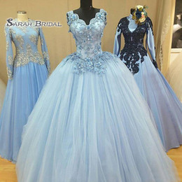 $enCountryForm.capitalKeyWord Australia - 2020 Sky Blue Evening Dress Backless Quinceanera Dresses Party Ball Gown Elegant Tulle Skirt Appliques Top
