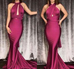 Multiple Art Australia - Cheap Mermaid Long Pleats Prom Dresses 2019 Multiple Neckline Sexy One Shoulder Halter Neck Formal Party Evening Gowns Long Train
