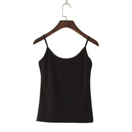 cotton camisoles wholesale Australia - Women Spaghetti Tank Top Summer Casual Camisoles Women's Tops T-shirt Strap Cropped Vest Female Camis Fashion Synthetic Cotton