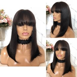 Bangs For Medium Hair Australia - With bangs no tangle medium free shipping unprocessed virgin remy human hair natural color natural straight full lace cap wig for girl