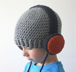 Handmade crocHet beanie newborn online shopping - Warm Crocheted Baby Earphone Hats Girl Handmade Knitted Braid Beanie Boy Child Headphone Caps Unisex Funny Christmas Gifts