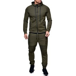спортивные костюмы мужские оптовых-ZOGAA Pieces Sets Tracksuit Men New Autumn Winter Hooded Sweatshirt Drawstring Pants Male Stripe Pure Color Hoodies