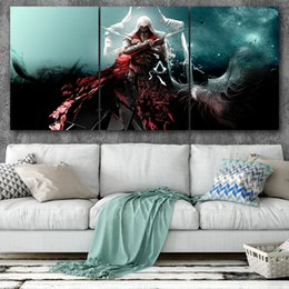 Assassins Creed Pictures Canvas UK - Canvas Posters Home Decor Wall Art Framework 3 Pieces Assassins Creed II Paintings For Living Room HD Prints Modern Videogame Pictures