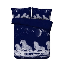 $enCountryForm.capitalKeyWord Australia - 3D Duvet Cover Set Running Horse Print 3 Piece Pyramid Bedding Set With 2 Pillow Shams Watercolor Bedspread Quilt Cover Moon Comforter Cover