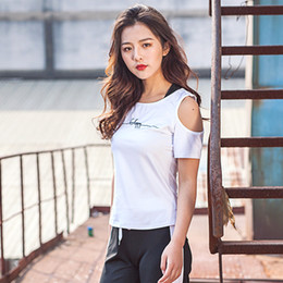 $enCountryForm.capitalKeyWord Australia - Women's Letter Pattern Hollow Yoga Shirts Slim Strapless Sports Clothing for Yoga Running Fitness 2 Colors Breathable Sportswear