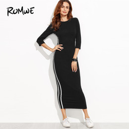 f6fea605615 ROMWE Black Striped Side Seam Fitted Tshirt Dress Women Clothes Autumn  Casual 3 4 Sleeve Clothing Female Slim Long Dresses Y19042401