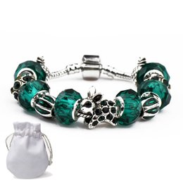 Silver Emerald Jewelry Australia - Hot Sale Silver Charm Bracelets Women Designer Snake Chain Clear Emerald Beads Diamond Rabbit Fit Pandora Bangles Jewelry With Logo P18