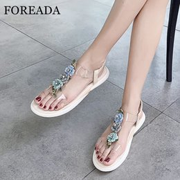 $enCountryForm.capitalKeyWord Canada - FOREADA Women Shoes Summer Sandals Natural Cow Leather Sweet Flower Flat Beach Shoes Transparent T-tied Sandals Female Size 39