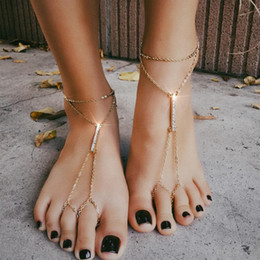 anklet NZ - Women Sexy Beach Barefoot Adorn Alloy Rhinestone Foot Anklet Chain for Party Gold Silver 2 Colors 1 Pair