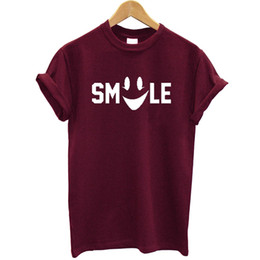 Smile T Shirt Women Australia - Smile Printed Women T Shirt Cotton Short Sleeve Round Neck Funny Summer Tops Streetwear Casual Tee Shirt Plus Size Tshirt