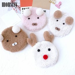 wholesale plain purses Australia - Monsisy 5PCS Winter Girl Coin Purse Handbag Children Wallet Kid Small Change Purse Coin Box Wool Dog Elk Pouch Baby Money Bag