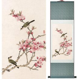 Chinese Floral Paintings Australia - Home Office Decoration Chinese Scroll Painting Birds Painting Chinese Wash Printed Painting 052513